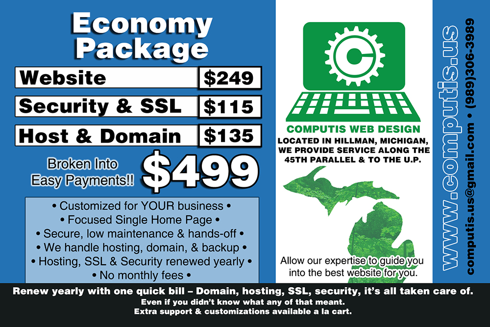 Economy Package Northern Michigan Web Design